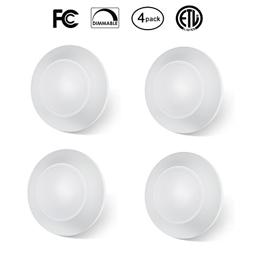 le LED Disk Light Flush Mount Ceiling Fixture with ETL FCC Listed, 750LM, 12W (70W Equiv.), Natural White 4000K, White Finish Ultra-Thin,Round LED Light for Home,Hotel,Office (6 White Ceiling Mounts)