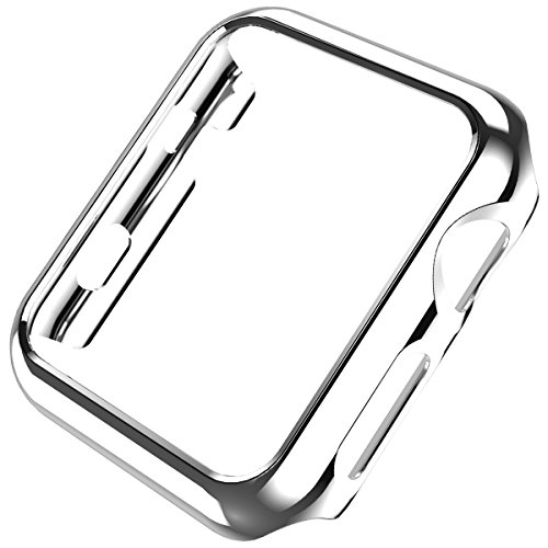 Coobes Compatible with Apple Watch Case Series 5/4 44mm 40mm, Ultra-Thin PC Plating Bumper Shiny Lightweight Shockproof Protector Cover Slim Frame Accessories Compatible iWatch (Silver, 44mm)