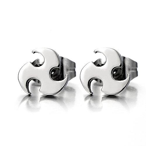 Pair Blades Earrings Stainless Steel