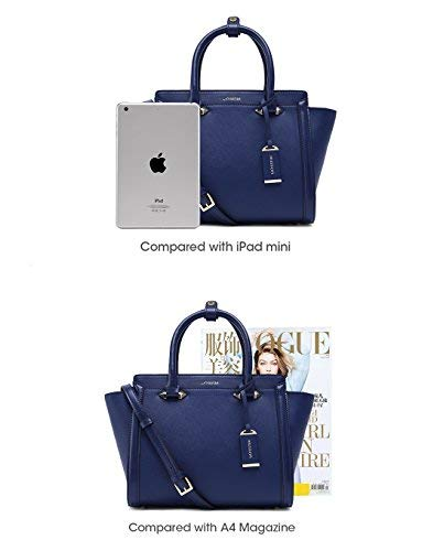 Travel More Ladies Trendy Leather Fashion bag Luxury in and Accessorize Shoulder for Hobo LA'FESTIN Designer Classic Purses Blue Handbags Women Large Tote Genuine vHqI1Twxg