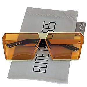 Elite Oversized Flat Top Metal Square Sleek Retro Mirrored Oceanic Lens Sunglasses (Orange, 66)