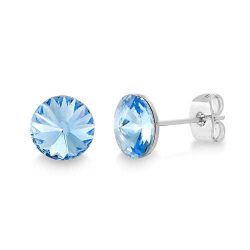 Devin Rose Rivoli Stud Earrings for Women Made With Swarovski Crystal in Rhodium Plated Brass (Color: Light Sapphire)