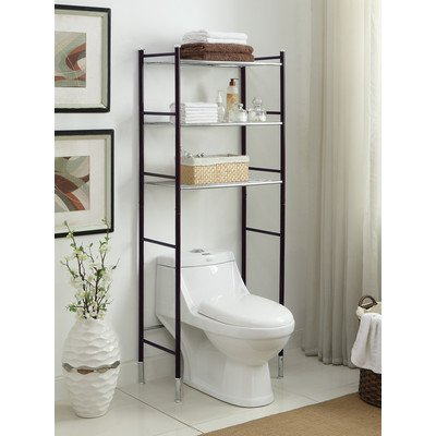 Sleek Contemporary Style Duplex Over The Toilet Bathroom Shelf Oil Rubbed Bronze and Chrome Finish 24'' x 66.25''