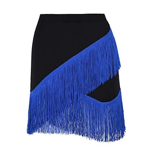 (iiniim Women Ladies Fringe Flowing Tassels Latin Skirt Tango Rumba Dancewear Exercise Skirts Black&Royal Blue Medium)
