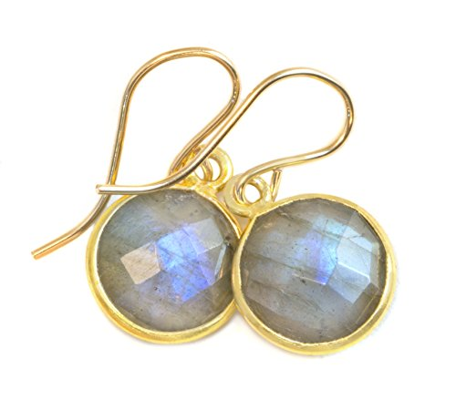 14k Gold Filled Labradorite Earrings Blue Flash Round Goldtone Bezel Set Faceted Drops