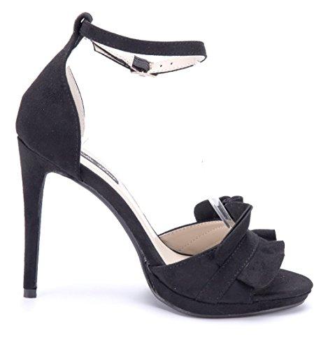 Schuhtempel24 Damen Schuhe Sandaletten Sandalen Stiletto 11 cm High Heels Schwarz