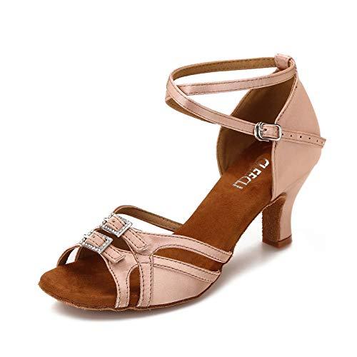 CLEECLI Women's Ballroom Salsa Latin Dance Shoes Adjustable Forefoot Width 2.5