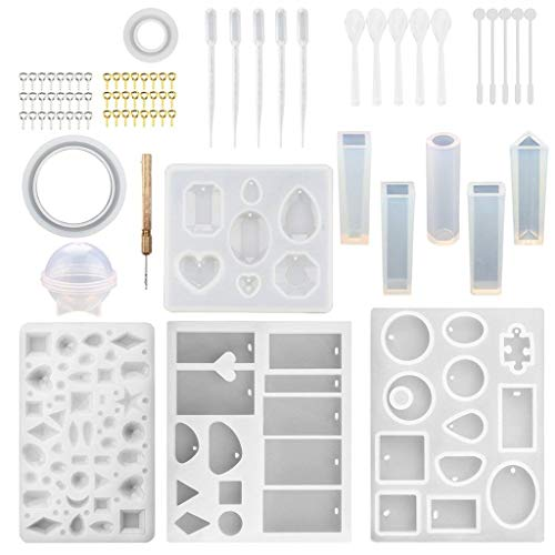 QIUSge DIY Jewellery Making Equipment – Crystal Glue Jewellery Mould Set Handmade Glue Mould Laborious Kind UV Clear Glue Curing (76pcs, White)