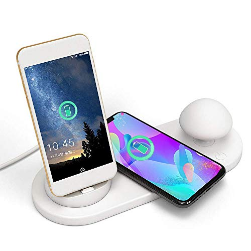 CCOOL Wireless Charging Station USB 3 Port Charger with Led Mushroom Lamp Desktop,for Phone Android iPhone iPad Tablet White ()