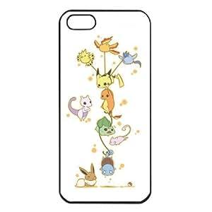 Pokemon Popular Cute Pikachu Charmander Bulbasaur Mew Eevee Mewtwo Apple iPhone 5 TPU Soft Black or White Cases (Black)