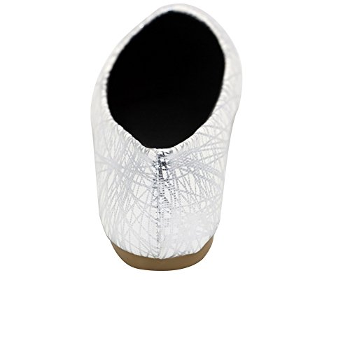 Aalardom Donna Materiale Morbido Scarpe A Punta Piatte Senza Punta Colore Bianco