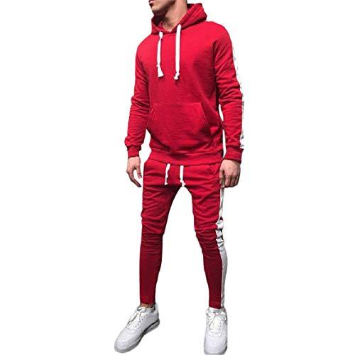 Fit Pantalons Survêtement Ensemble Ensembles Zipper À Sweat Manches Costume Patchwork Homme Top Charm Sportswear Rouge Sport Hommes De Long Bellelove Longues Automne qtwxO6UxH