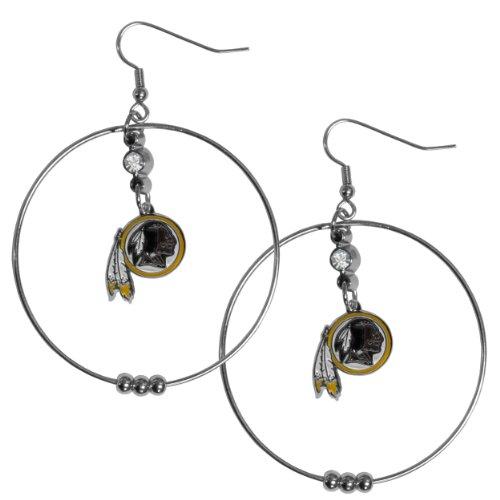 NFL Washington Redskins Hoop Earrings, 2-Inch Hoop Earrings : Accessories Accessories