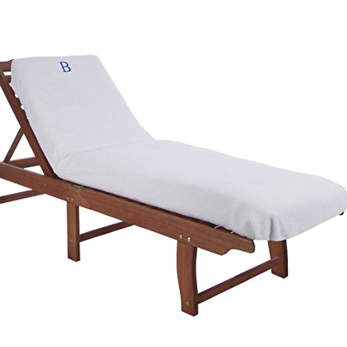 Superior 100% Cotton Lounge Chair Cover with Personalized Monogrammed Letters, Thick, Super Soft, Plush and Highly Absorbent Cotton Terry Towel, Bright White - B (Lounge Chaise White Chairs)