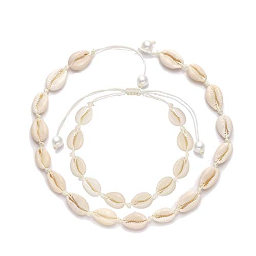 (Natural Shell Choker Necklace for Women Boho Seashell Necklaces Handmade Woven Shell Anklets Adjustable Hawaii Beach Summer Jewelry Set (White 2 Strands) )