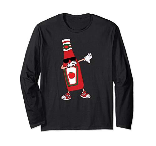 Dabbing Dance Pose Tomato Ketchup bottle Long Sleeve T