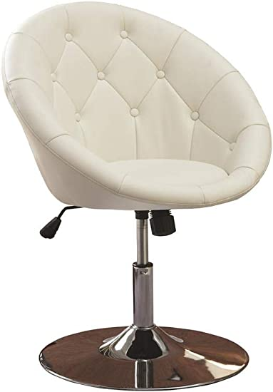 Round Tufted Swivel Chair White and Chrome