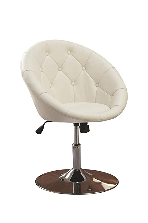 Groovy Round Tufted Swivel Chair White And Chrome Ocoug Best Dining Table And Chair Ideas Images Ocougorg