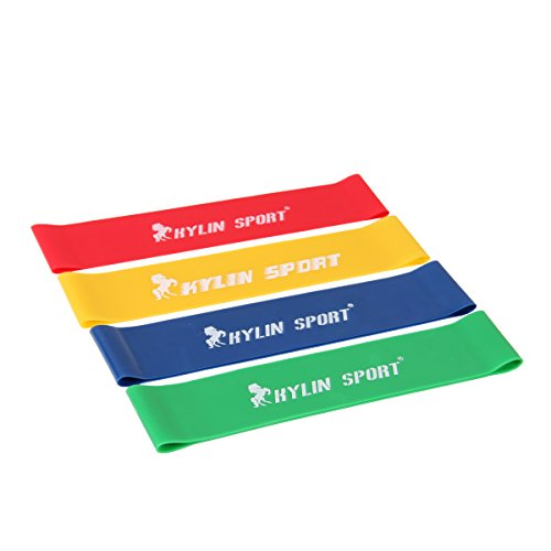 KYLIN SPORT Set of 4 Levels Resistance Loop Elastic Bands Workout Fitness Stretching Physical Therapy Equipment for Yoga Pilates Crossfit Gym Ankle, Legs, Knee, or Arm Exercises