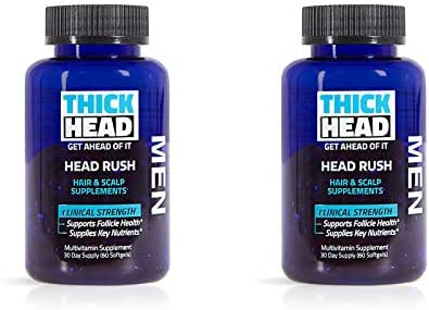 Thick Head – Head Rush Hair and Scalp Supplements for Men, 120 Softgel