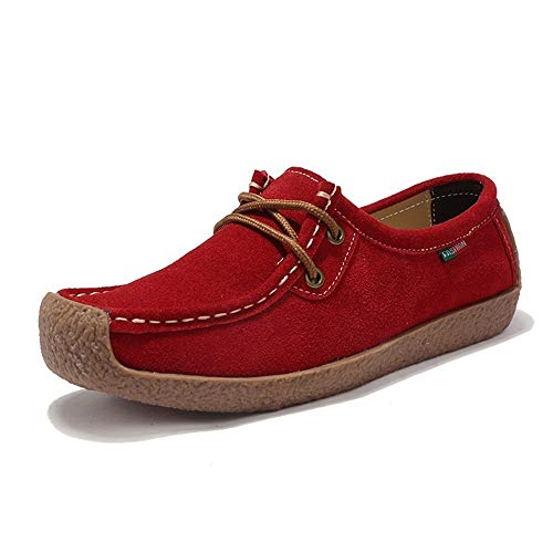 Sunly Women Genuine Leather Boat Shoes Casual Flats Woman Hand-sewn Suede Loafer