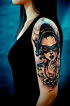 Artimag & Trendy Tattoo Stickers Bat Glasses Girl Tattoos Sexy Cover Girl Arm shoulder Temporary Tattoo Waterproof