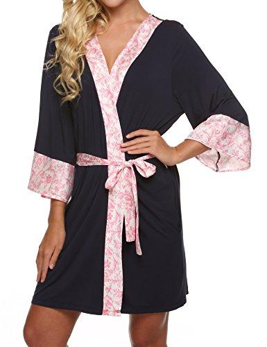 Ekouaer Women's Comfortable Kimono Robe Short Nightwear Bathrobes (Blue, XS)