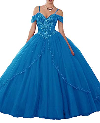 FJMM Womens' Ball Gown Crystals Quinceanera Dress Cap Sleeves Prom Gown for Party Neon Blue -