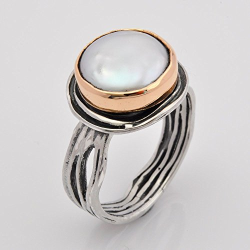 handmade-engagement-pearl-ring-large-silver-pearl-ring-two-tone-silver-and-gold-ring-sizes-3-11