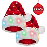 Funny Santa Hat [2 Pack] with 20 Blinking Color-Changing Light up LED Lights - Soft Plush Faux Fur for Adults and Children (2 Hats)