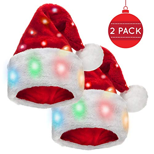 Santa Hats With Led Lights