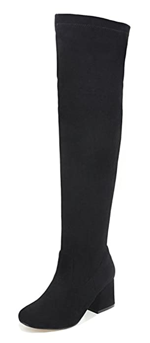 Aisun Womens Simple Round Toe Dressy Side Zip Up Chunky High Heel Over The Knee Boots
