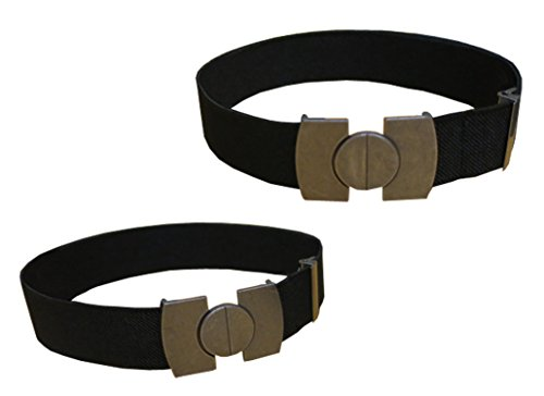N'Ice Caps Kids 2 Pack Stretch Belts with Magnetic Buckle (One Size, Black Solid / Black Solid)