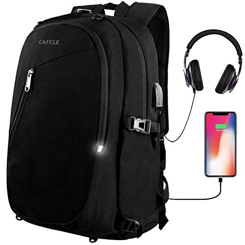 Cafele Laptop Backpack,Travel Computer Bag for Women & Men,Anti Theft Water Resistant College School Bookbag,Slim Business Backpacks w/USB Charging Port Fits15.6 Laptop Notebook,Black Basketball Net