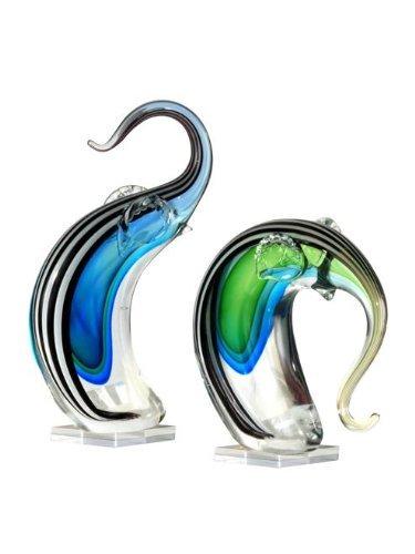 Dale Tiffany 2-Piece Deco Elephant Art Glass Sculpture Set