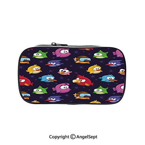 Two Big Pockets for Executive Fountain Pen,Angry Flying Birds Figure with Various Expressions Game Toy Kids Babyish Artsy Image Multicolor 5.1inches,Multi-Functional 72 Slots Colored Pencil Case