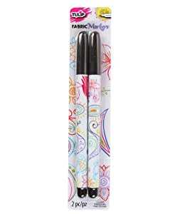 Tulip Permanent Nontoxic Fabric Markers Black 2 Pack - Laundry Markers, Fine Bullet Tip, Child Safe, Minimal Bleed & Fast Drying - Premium Quality for T-shirts, Clothes, Shoes, Bags & Other Fabric Materials