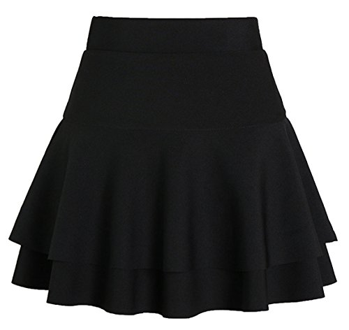 chouyatou Women's Stretched Versatile Flare Tiered Skater Skirts with Shorts (X-Large, Black)