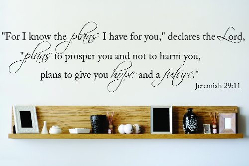 Design with Vinyl OMG 772 Black For I Know The Plans I Have For You Declares The Lord Plans to Prosper You and Not to Harm You Jeremiah 29:11 Quote Decal, 10-Inch x 40-Inch, Black by Design with Vinyl