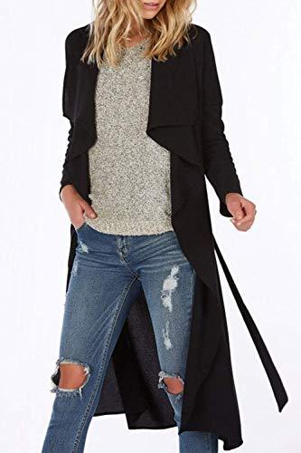 Donne Nero Cappotto Primaverile Casual Trench Cintura Cappotti Fashion Autunno Battercake Irregolare Lunga Colore Eleganti Puro Cardigan Casuale Donna Manica Outwear Sciolto Inclusa KlFuT1c5J3