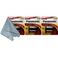 Panasonic 2CR5 6-Volt Photo Lithium Cylinder Batteries 2CR5M 3 Pack, with Cloth