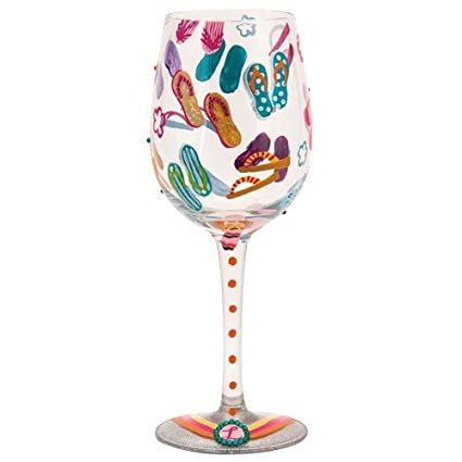 118776b33ded Image Unavailable. Image not available for. Color  Lolita Flip Flops Too  Artisan Painted Wine Glass Gift