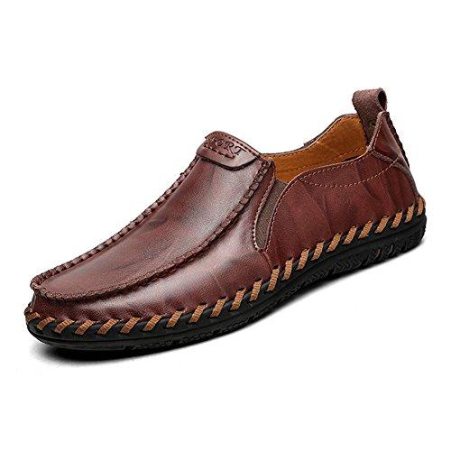 Hombres Oxford Cuero Casual Mocasines Ponerse Hecho a mano Cómodo Moda Pisos Negro marrón Conducción Zapatos Negocio Dark Brown