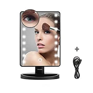 Make Up Mirror LED Lighted, Showpin Touch Screen Vanity Beauty Mirror,USB/Battery Operated Portable Tabletop Cosmetic Mirror with Free Removeable 10x Magnification Mirror