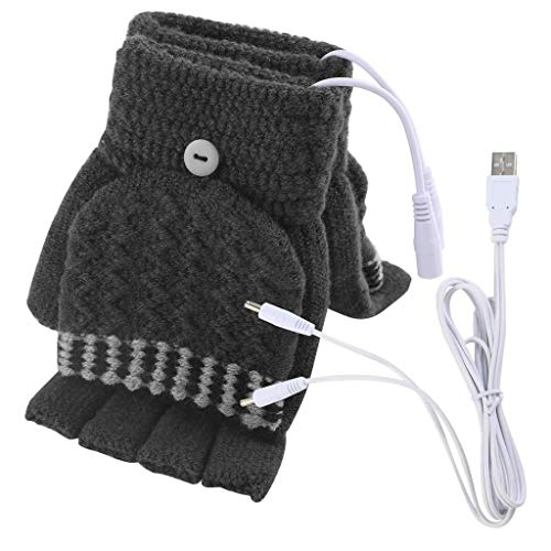 - Unisex Women Men USB Heated Gloves Mitten Full&Half Finger Winter Warm Knit Faux Fleece Laptop/Computer Hand Gloves Washable Design (D-Men)