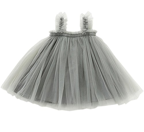 LYXIOF Baby Girls Tutu Dresses Sleeveless Princess Dress Infant Tulle Dress Toddler Sundress Grey 12 Months