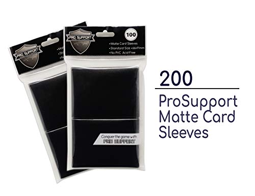 200 (2 x 100 Packs) Premium Black Standard Size Matte Trading Card Deck Protector Sleeves. Ideal for Magic The Gathering