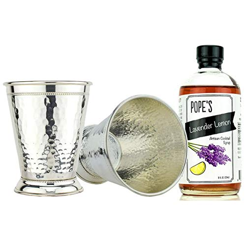 Hammered Silver Plate Julep Cocktail Gift Set ~ Lavender Lemon ~ by Prince of Scots