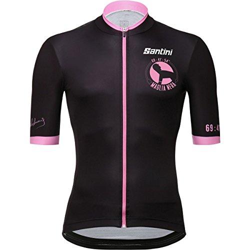 (Santini Maglia Nera Jersey - Men's Black/Pink, M)