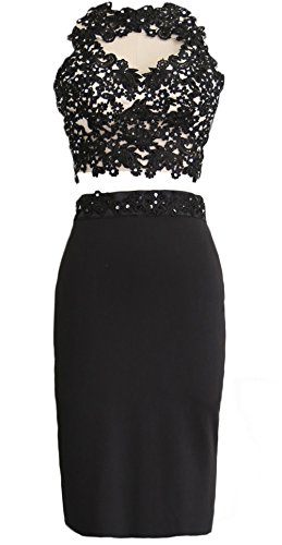 MACloth Gorgeous 2 Piece Jersey Cocktail Dress Short Prom Homecoming Formal Gown Negro